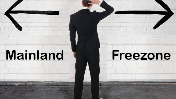 mainland vs freezone 600x338 - Free Zone Entity & Starting a Business in the UAE