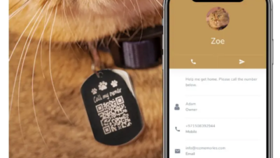 Pet pendant QR 400x225 - QR Codes on Pet Jewelry from Rozmemories